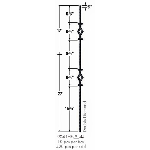 9041HF Double Diamond with Hammered Face Baluster Dimensional Information