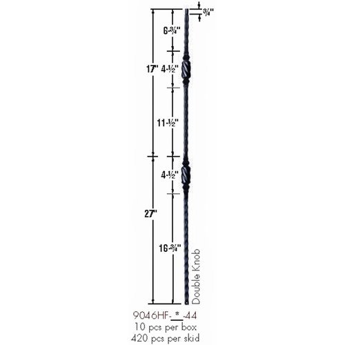 9046HF Double Knob with Hammered Face Baluster Dimensional Information