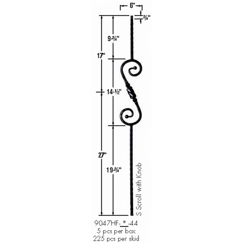 9047HF S-Scroll and Knob with Hammered Face Dimensional Information