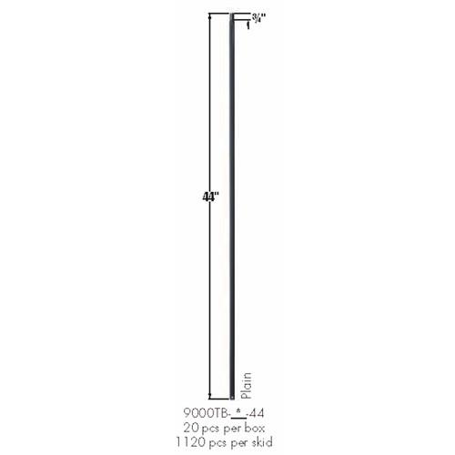 9000TB Satin Black Plain Square Bar Tubular Steel