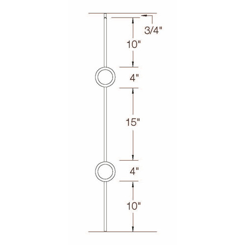 T-73 Double Circle Baluster Dimensional Information