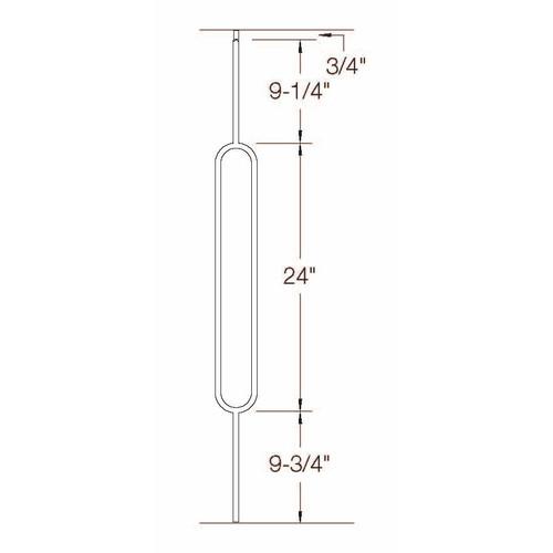 T-80 Single Oval Tubular Steel Baluster Dimensional Information