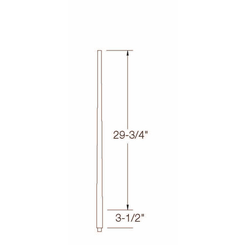 "A-5040 1-1/4"" x 34"" Colonial Long Tapered Baluster Dimensional Information"