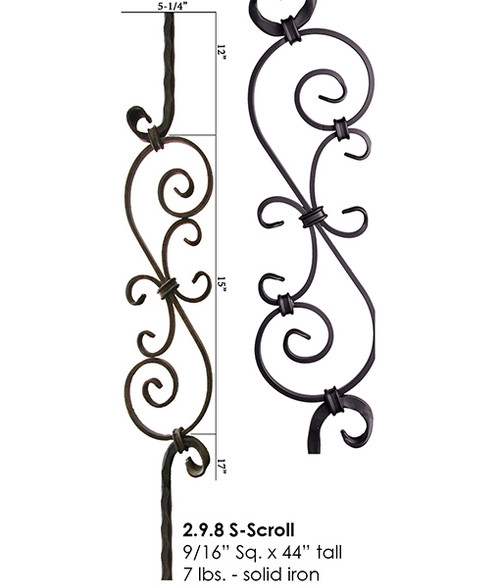 HF2.9.8 Tuscan Feathered S-Scroll Iron Baluster