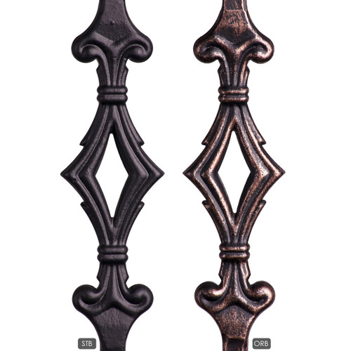 Double Diamond Iron Baluster Close UP in satin black and oil rubbed bronze.