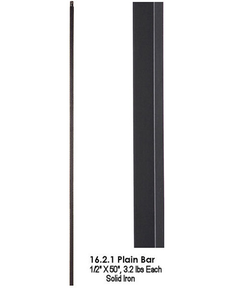 "HF16.2.1-50  50"" Straight Bar Iron Baluster Satin Black"