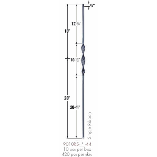 9011RS Double Ribbon Tubular Steel Baluster Dimensional Information