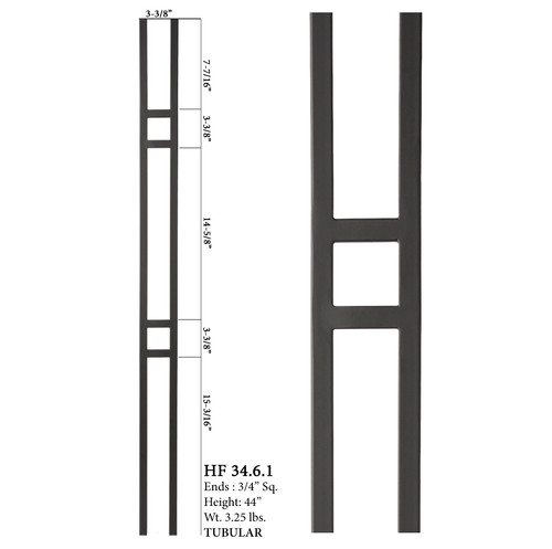 HF34.6.1 MEGA Double Square Aalto Steel Baluster