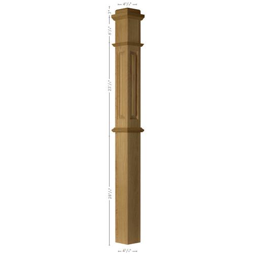 ARP-4375 Red Oak Actual Raised Panel Box Newel Post 2