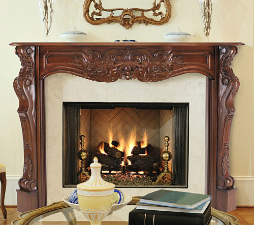 """The Deauville Mantel Surround, 48"""" Fruitwood Finish"""