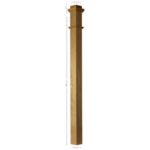 4075  Red Oak Plain Box Newel Post