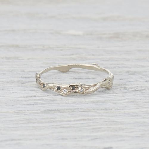 black diamond twig wedding ring