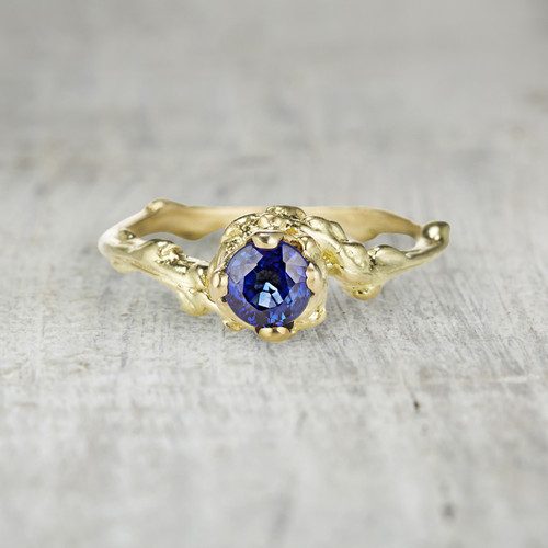 Blue sapphire twig engagement ring