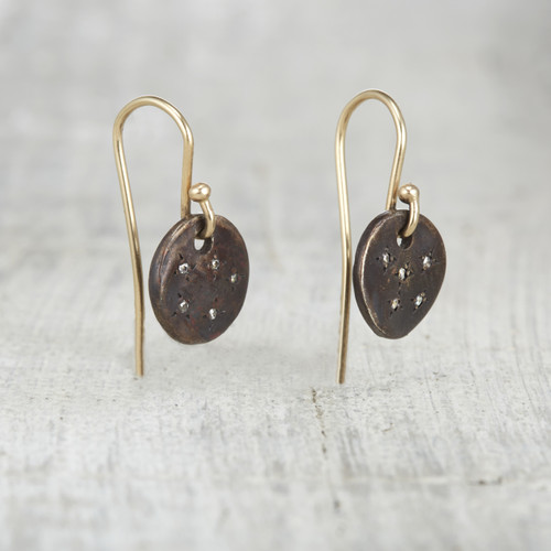 pave diamond nature inspired drop earrings