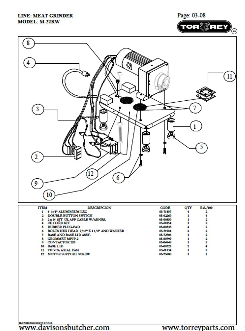 TorRey M-22RW1 Meat Grinder Parts List