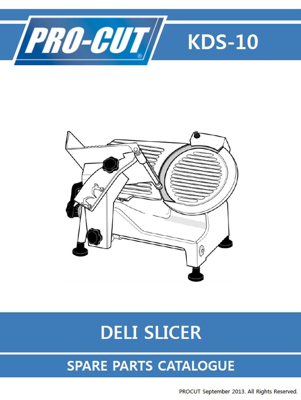 ProCut KDS-10 Meat & Deli Slicer Parts List