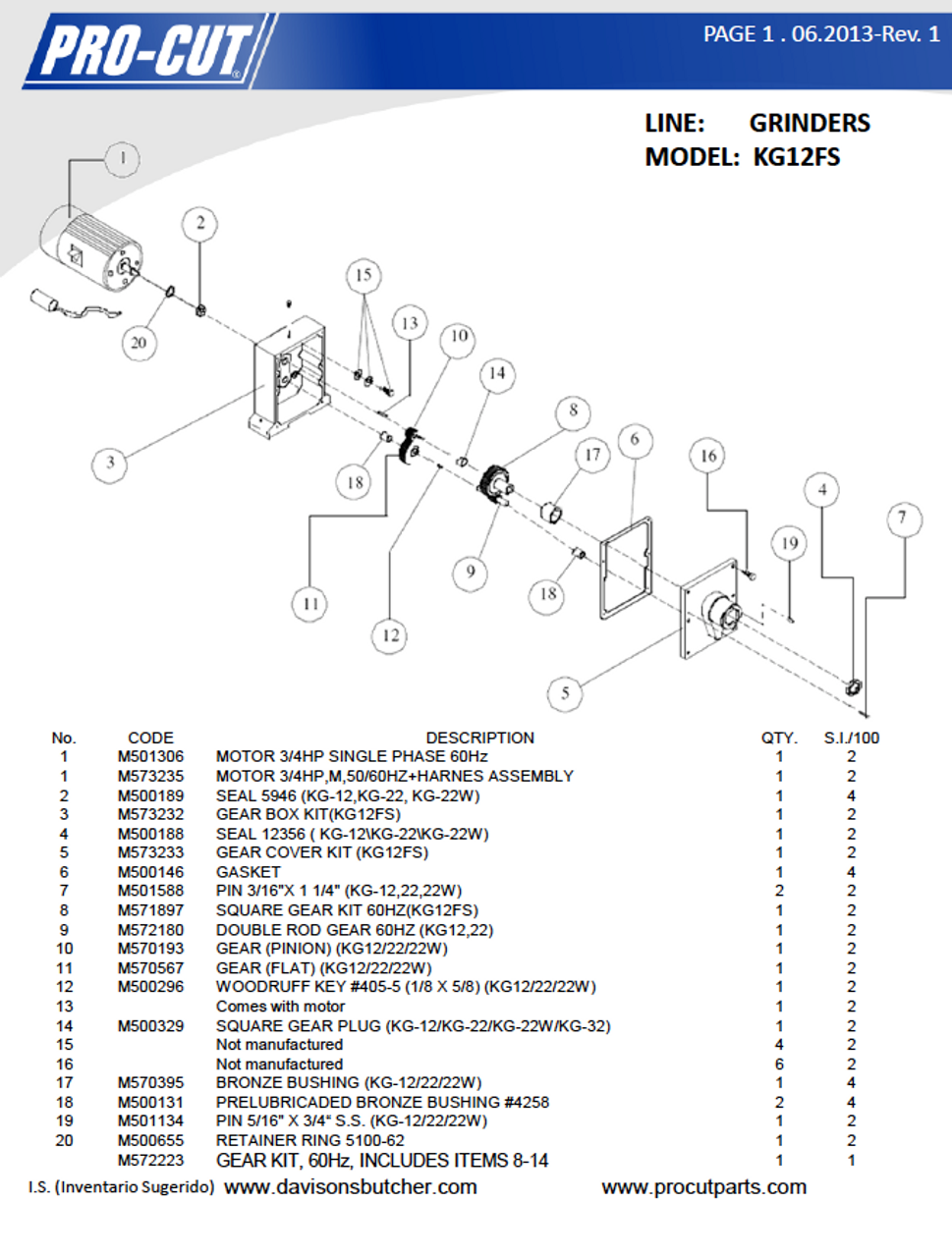 ProCut KG-12FS - Meat Grinder Parts List