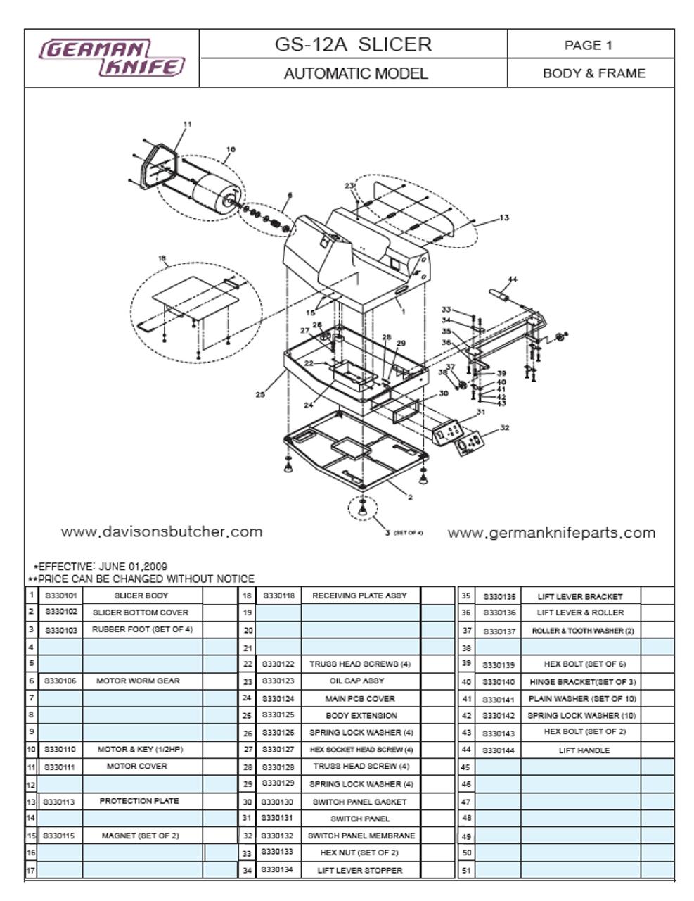 German Knife GS-12A - Meat & Deli Slicer Parts List