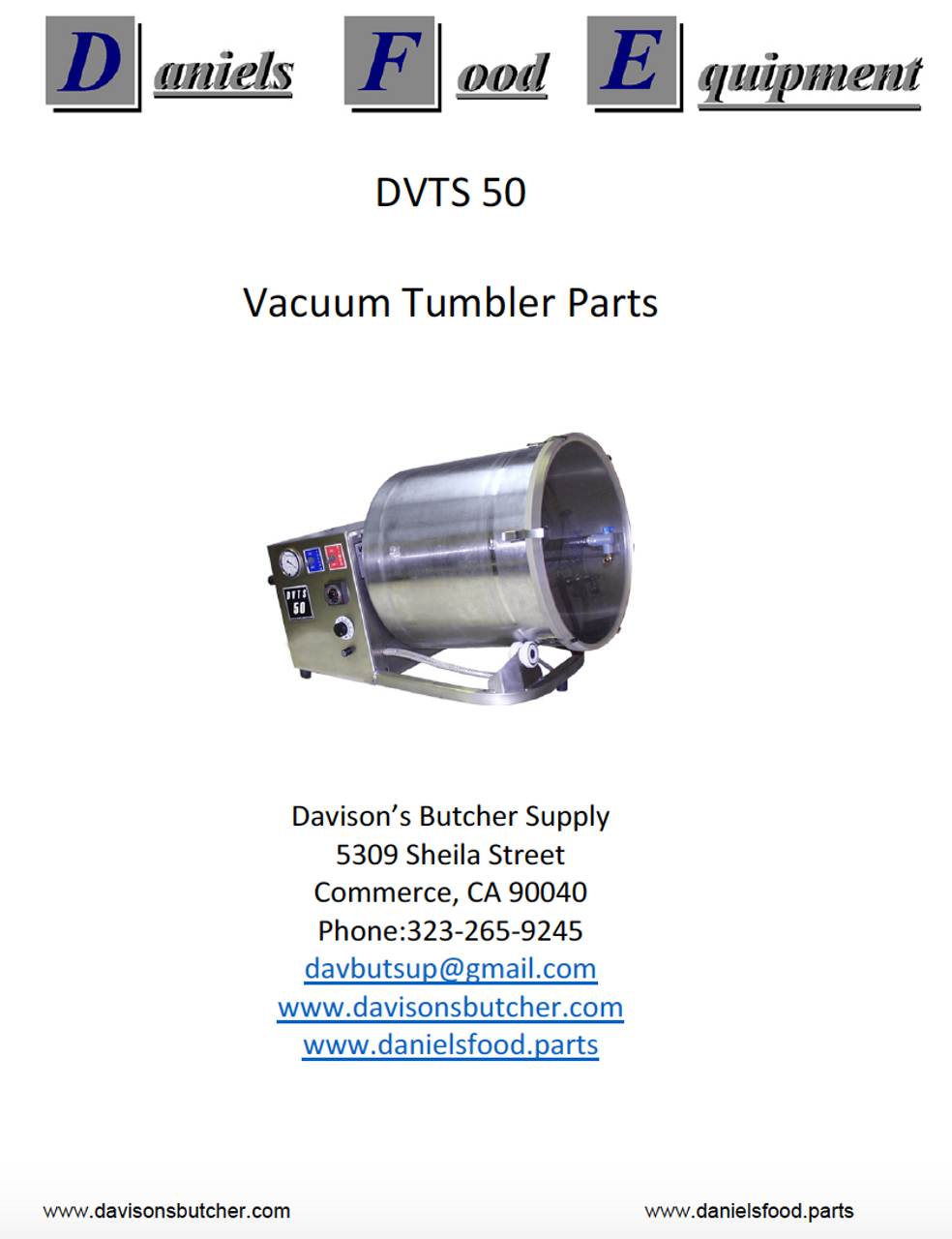 Daniels Food Dvts 50vacuum Tumbler Marinator Parts