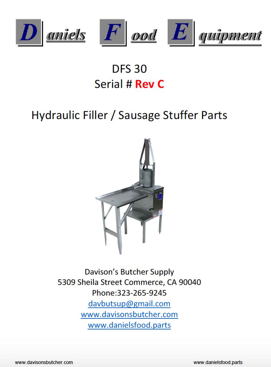"""Daniels Food DFS 30 Sausage Stuffer / Filler  Parts - Parts List - """"Rev C"""""""