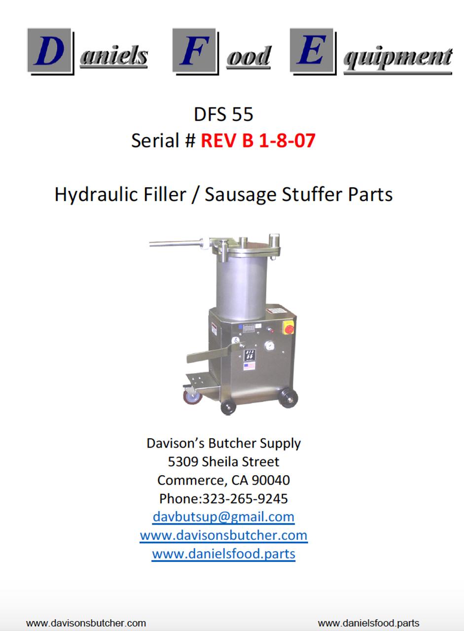 Daniels Food DFS 55 Sausage Stuffer / Filler  Parts - Parts List - REV B 1-18-07
