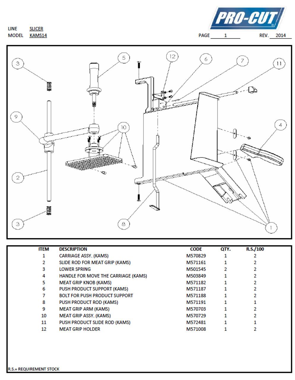 ProCut KAMS-14 Meat & Deli Slicer Parts List
