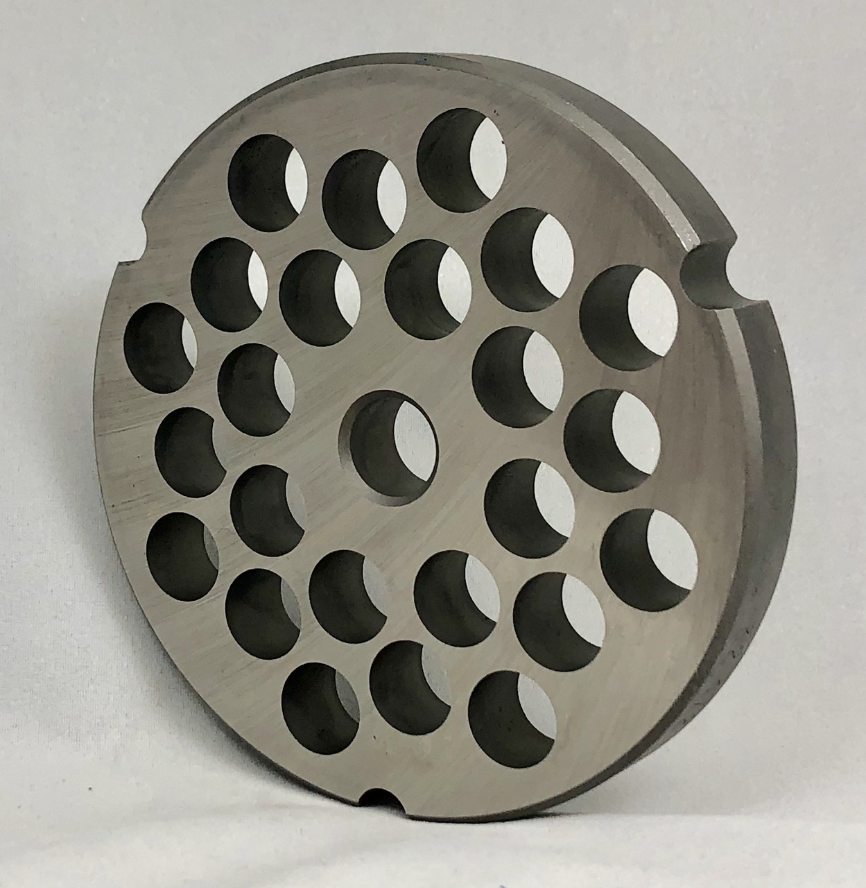 #32 Speco Meat Grinder Plate with 1/2'' Holes - Reversible & Hubbed Plate - 103483 & 104768