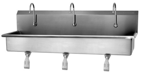 SANI-LAV 56W1 3-Person Wash Station - Stainless Steel - Wall Mount