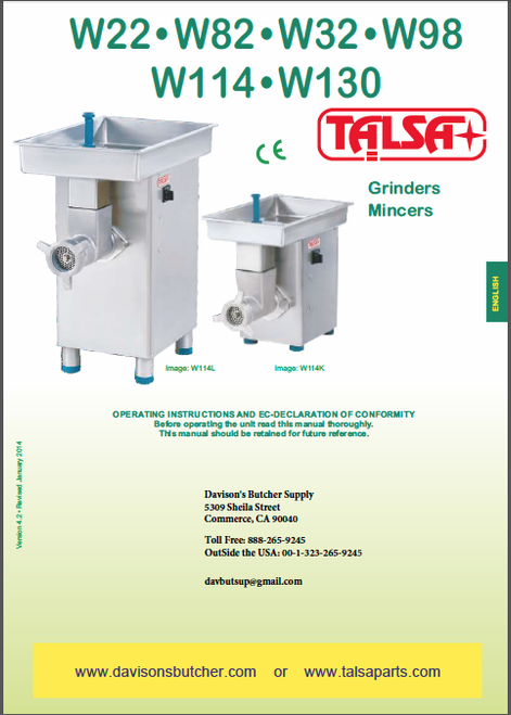 Talsa Meat Grinder Parts List