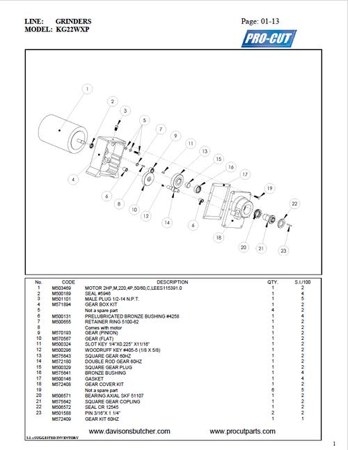 Pro Cut KG-22W-XP Meat Grinder Parts List