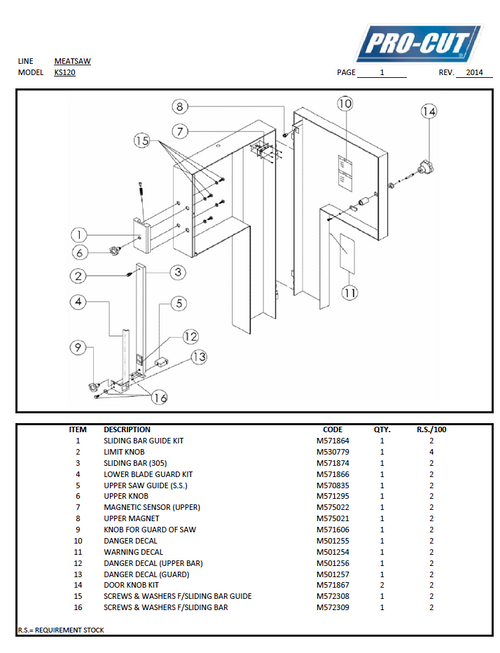 ProCut KS-120 Meat Bandsaw Parts List