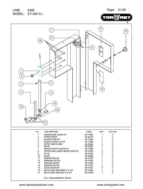 TorRey ST-295AI Meat Bandsaw Parts List
