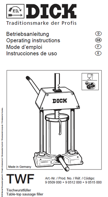 F.Dick Sausage Stuffer  - 18lb, 24lb, 30lb. Manual & Parts List (New Style) After June 1994 - 90509000, 905012000 & 90515000