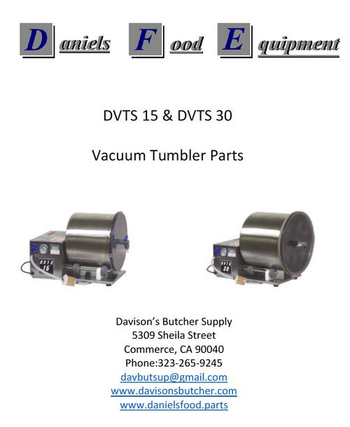 Daniels Food DVTS 15 & DVTS 30 Vacuum Tumbler / Marinator Parts - Parts List