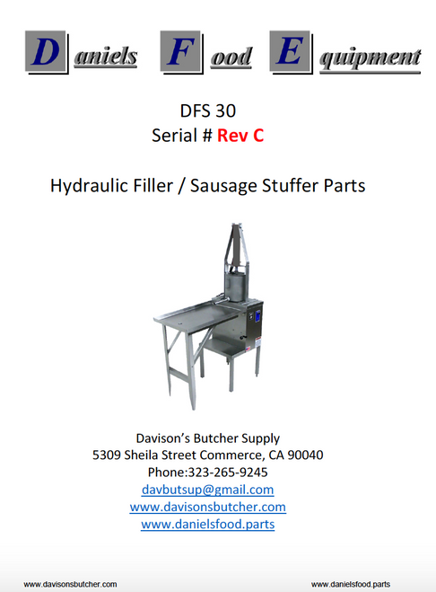 "Daniels Food DFS 30 Sausage Stuffer / Filler  Parts - Parts List - ""Rev C"""
