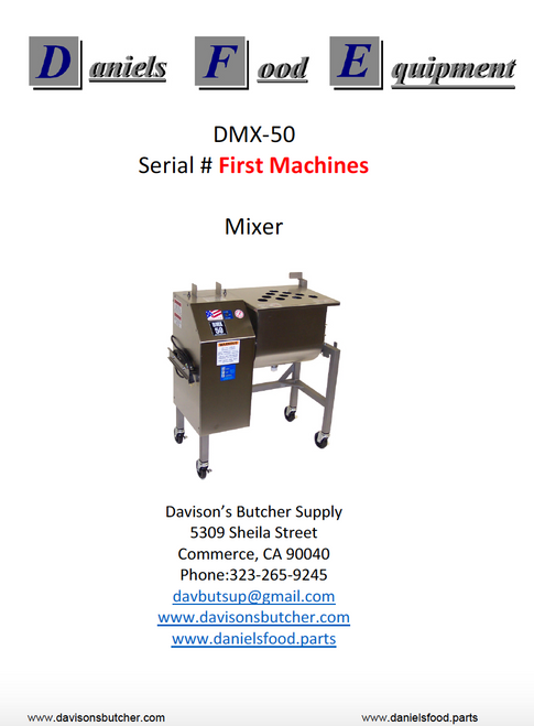 Daniels Food DMX 50 Mixer  Parts - Parts List - First Machines