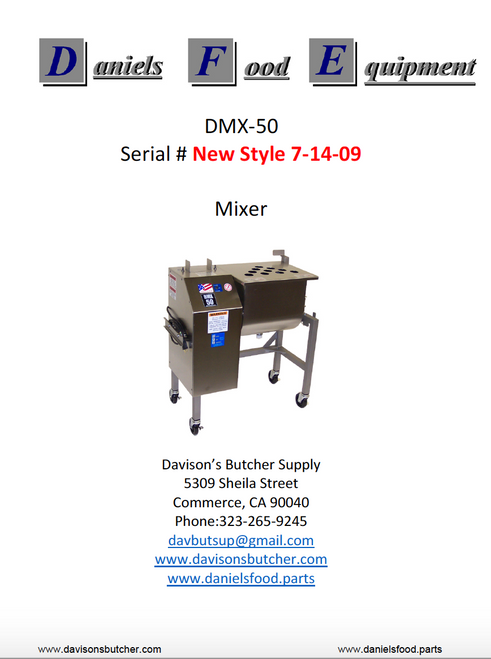 "Daniels Food DMX 50 Mixer  Parts - Parts List - ""New Style 7-14-09"""