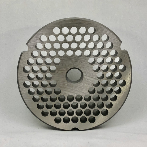 #32 Speco Meat Grinder Plate with 1/4'' Holes - Reversible & Hubbed Plate - 105748 & 102586