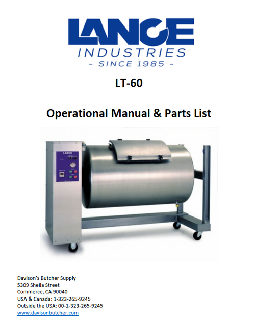 LT-60 - Lance Tumbler Operational Manual & Parts List
