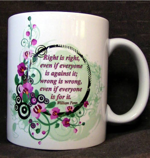 """Cup of Wisdom Candle - """"Right is right,  even if everyone  is against it;  wrong is wrong,  even if everyone  is for it."""""""