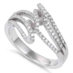 Sterling Silver Twisted CZ Ring