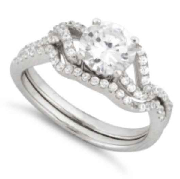 Sterling Silver Engagement Abstract Pave CZ Set Ring