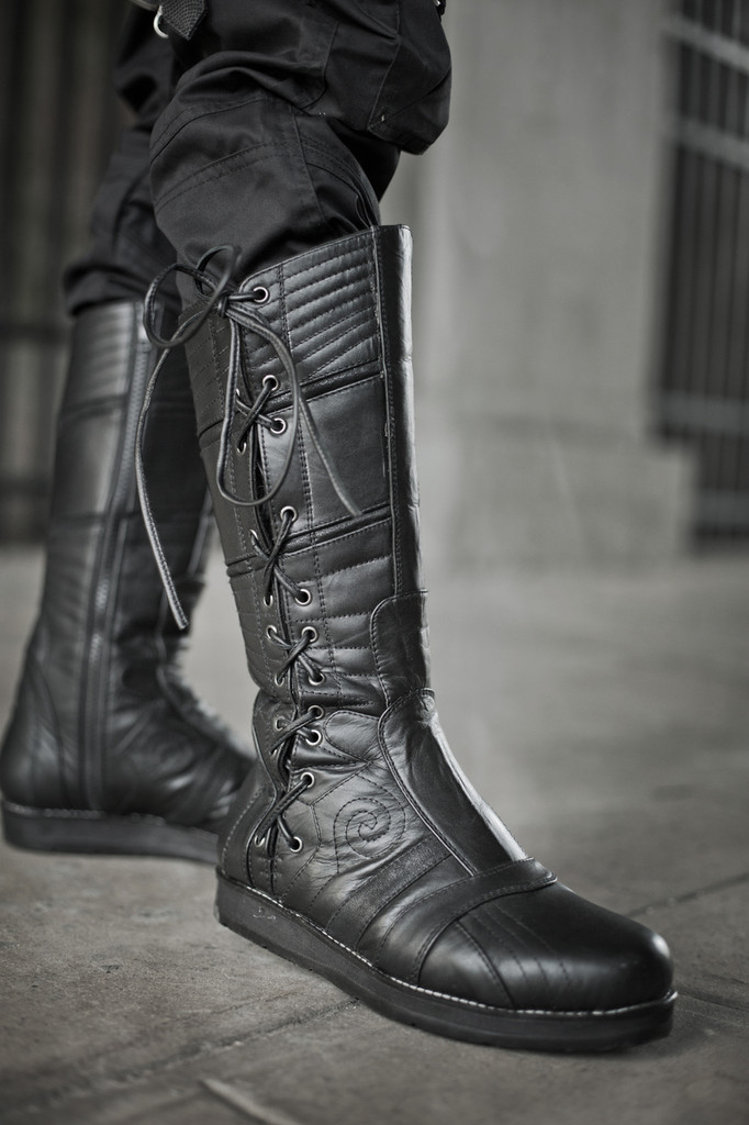 Leather Spiral Moto Boots