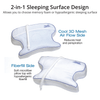 Features 2 unique sleeping surfaces, 1. Cool 3D Mesh side for hot sleepers or if you prefer a traditional fiber bed pillow feel simply flip to side 2!