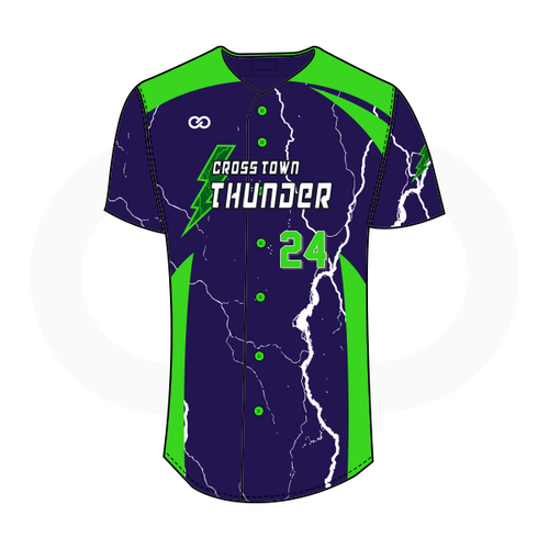 Crosstown Thunder Full-Button Softball Jersey - Navy