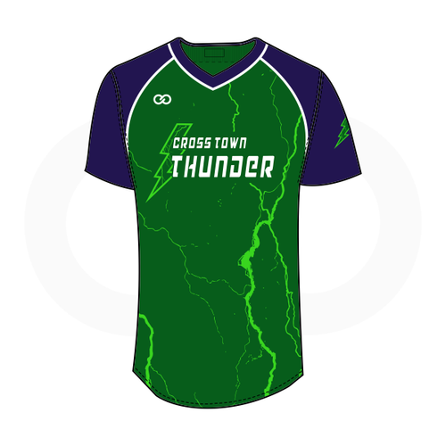 Crosstown Thunder V-Neck Softball Jersey - Green