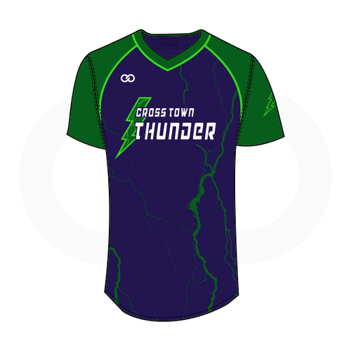 Crosstown Thunder V-Neck Softball Jersey - Navy