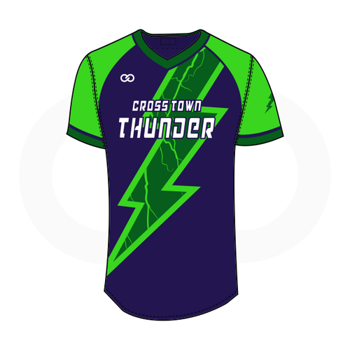 Crosstown Thunder V-Neck Softball Jersey - Navy with Lightning Bolt