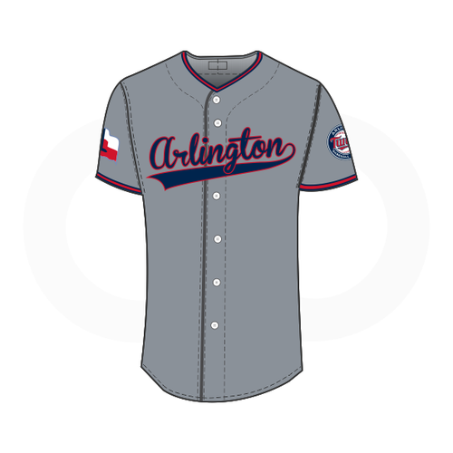 Arlington Twins Coaches Baseball Jersey Grey