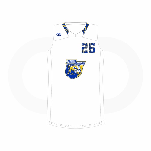 Baltimore Lions Basketball Racerback Football Jersey - White